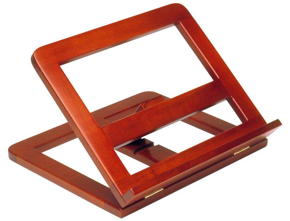 Atril sujetalibros madera color cognac 330x270x65 mm