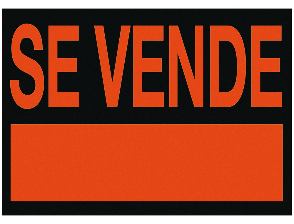 Cartel plastico /'se vende/' rojo fluorescente -500x234 mm
