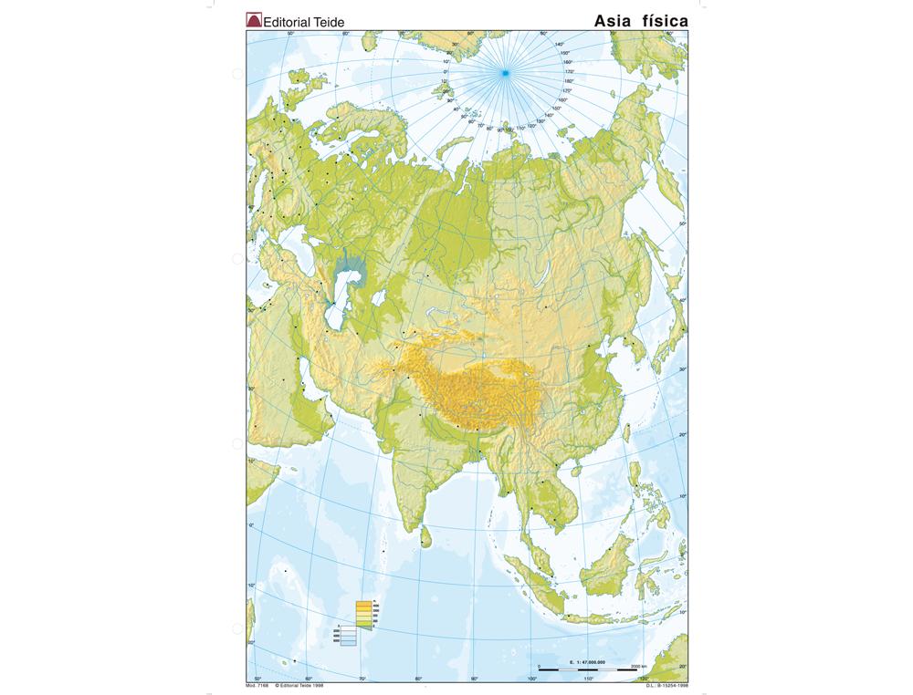 Mapa mudo color din a4 asia -fisico