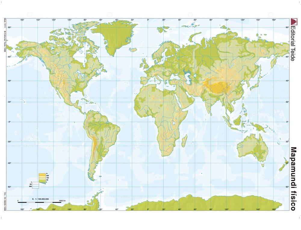 Mapa mudo color din a4 planisferio fisico
