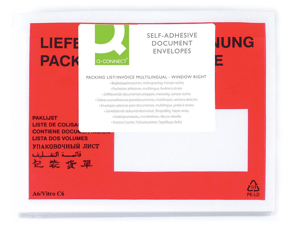 Sobre autoadhesivo q-connect portadocumentos multilingue 165x130 mm ventana izquierda -paquete de 10