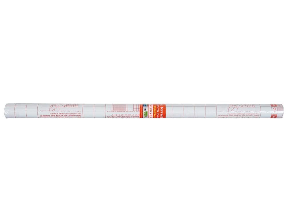 Rollo plastico adhesivo liderpapel 0,50x1,50 mt. 8o micras forralibros removible