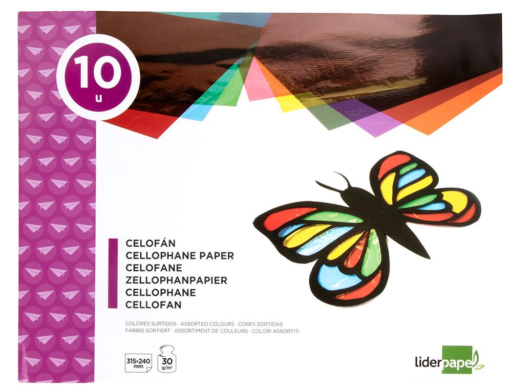 Bloc trabajos manuales liderpapel celofan 240x315mm 10 hojas colores surtidos