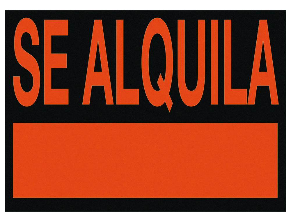 Cartel plastico /'se alquila/' rojo fluorescente 700x500 mm