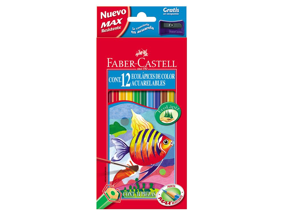 Lapices de colores faber-castell acuarelables caja de 12 colores surtidos