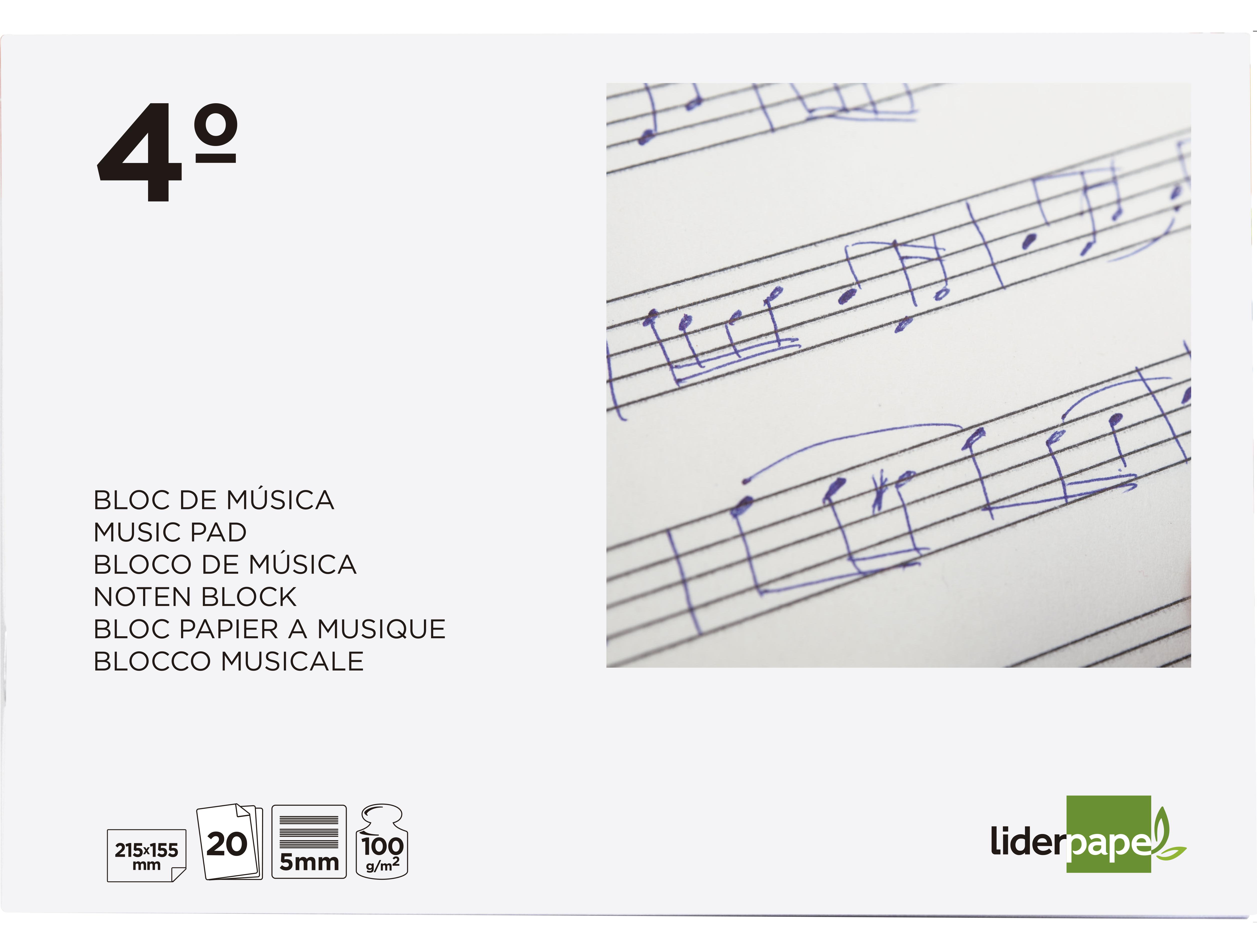 Bloc musica liderpapel pentagrama 5mm cuarto 20 hojas 100g/m2 grapado