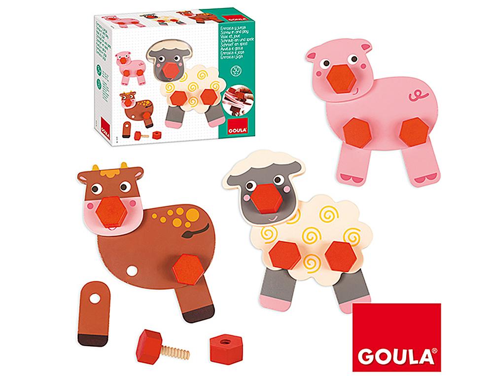 Juego goula didactico enrosca y juega animales granja
