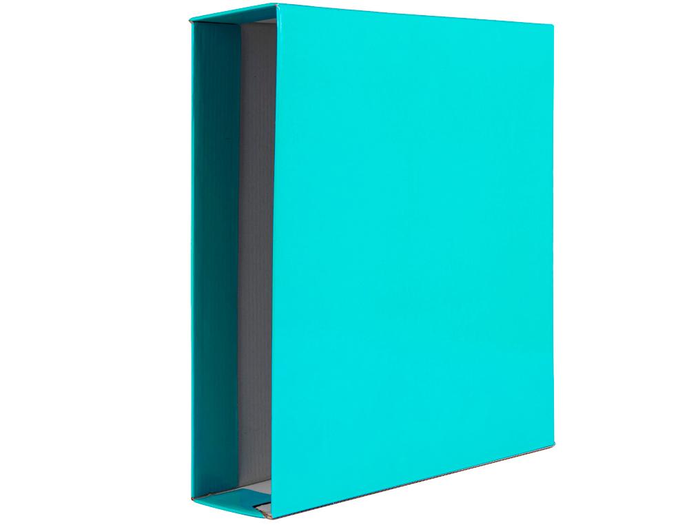 Caja archivador liderpapel de palanca carton din a4 documenta lomo 75 mm verde claro