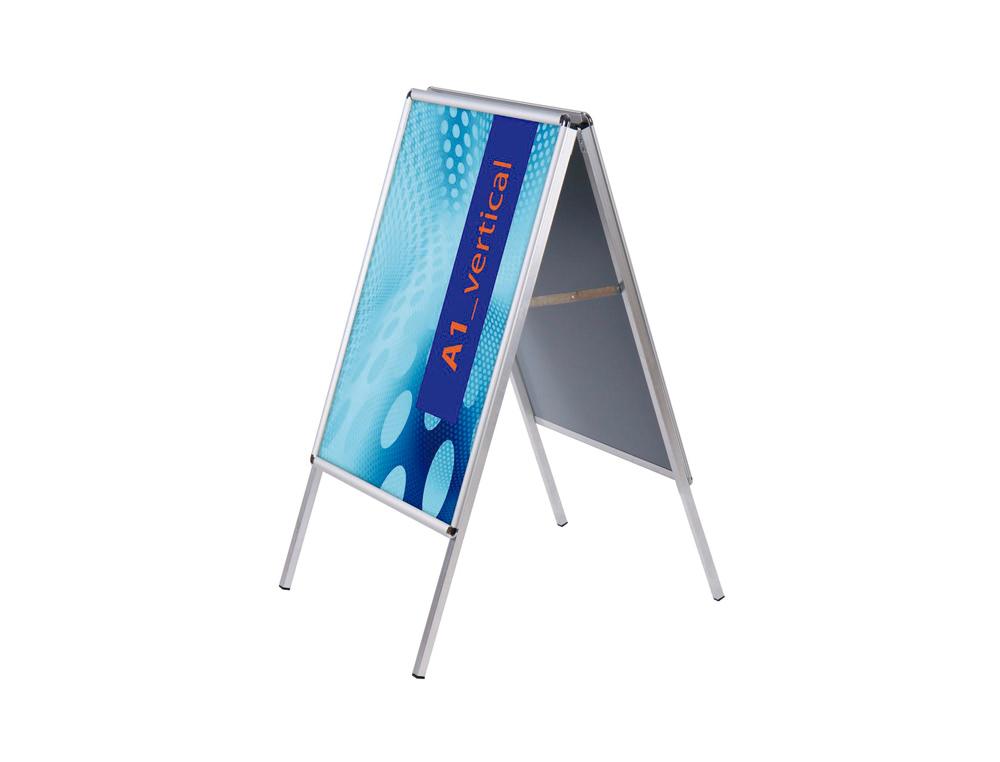 Caballete para poster jensen display aluminio doble cara din a1 marco de 25 mm con cantoneras 625 x