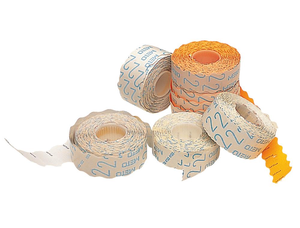 Etiquetas meto onduladas 26x16 mm blanca adh. 1 removible rollo de 1200 etiquetas troqueladas para e