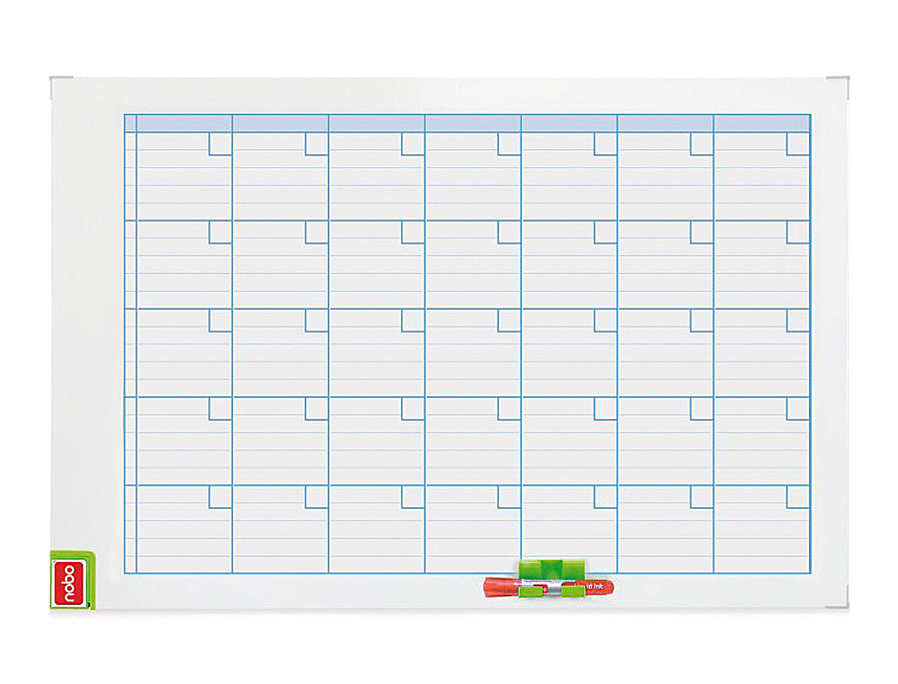 Planning magnetico nobo mensual rotulable marco metalico 90x60 cm